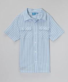 Look what I found on #zulily! Light Blue Stripe Short-Sleeve Button-Up - Toddler & Boys by French Toast #zulilyfinds