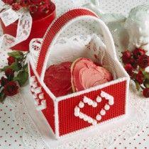 Beaded Heart Basket Plastic Canvas ePattern