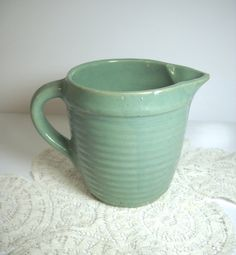 Sweet! - Vintage Pottery Pitcher Creamer Ribbed Design by wallstantiques, $12.99