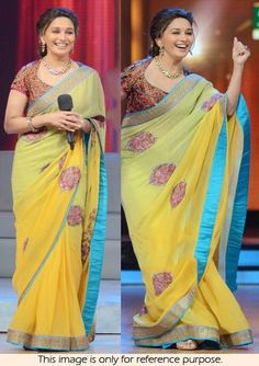 Bollywood Style Madhuri Dixit Georgette Saree in Yellow color Saree Jacket Designs, Saree Blouse Neck Designs, Bollywood Designer Sarees, Bollywood Saree, Bollywood Actress, Lehenga Saree Design, Simple Blouse Designs, Designer Blouse Patterns, Blouse Models