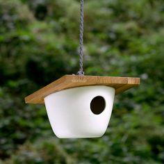 Pigeon Toe porcelain + cedar birdhouse.