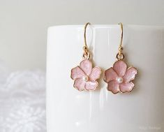 Pink Flower Earrings  Sakura Flower Earrings  by naryaboutique