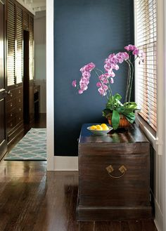 Van Deusen Blue in Natura (Benjamin Moore) --> deep blue walls (accent wall?) with the white trim is really nice looking Blue Paint Colors, Interior Paint Colors, Wall Colors, House Colors, Gray Paint, Benjamin Moore Blue, Relaxing Colors, In Natura, Houses
