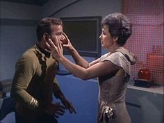 """The Man Trap""--The M-113 Creature, disguised as Nancy, attacks Kirk."