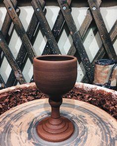 Handmade vine glass #handmade #vineglass #ceramic #redclay #potterygoblets