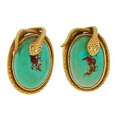 Art Nouveau Snake Turquoise & Gold Cufflinks | From a unique collection of vintage cufflinks at http://www.1stdibs.com/jewelry/cufflinks/cufflinks/