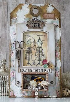 Creativity Takes Courage Tag ~ created by Emma Williams for Simon Says Stamp