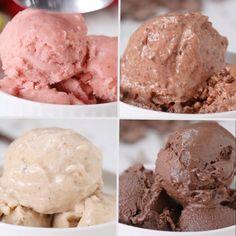 "Banana ""Ice Cream"" 4 Ways healthy icecream dessert banana Frozen Desserts, Healthy Desserts, Just Desserts, Delicious Desserts, Dessert Recipes, Yummy Food, Diet Recipes, Desserts With Bananas, Crohns Recipes"