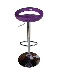 Avanti Bar Stool in Purple The Avanti stool features a totally on-trend purple acrylic seat with a curved design for superb comfort when you're sitting at your breakfast bar or high table. A sturdy chrome plated base adds contrasting shine, while the gas-lift mechanism allows you to adjust the height to a maximum of 96.5 cm.Also available in white (see item number 6U6GA), silver (6U6G9), black (6U6GD) and red (6U6GC).Dimensions: Height 78 - 96.5, Width 46.5, Depth 45 cmDepth: 45 CMHeight: 78…