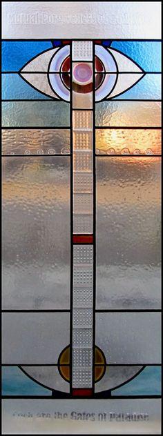 Vitráže Karko - návrhy - výroba - restaurování: abstraktní vitráž v panelovém bytě