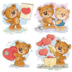 Buy Set Vector Clip Art Illustrations of Teddy Bears by vectorpocket on GraphicRiver. Set of vector clip art illustrations of enamored teddy bears in various poses – holding a valentine postcard, heart, . Tatty Teddy, Art And Illustration, Art Illustrations, Clipart, Teddy Bear Cookies, Giving Flowers, Bear Vector, Cute Banners, Christmas Teddy Bear