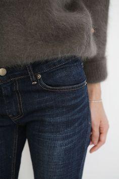 soft sweater, dark denim