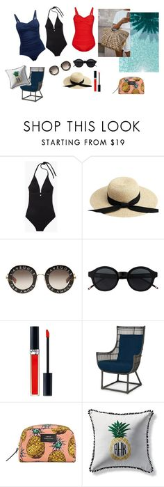 """""""baddräkt"""" by emma-thysell-1 on Polyvore featuring Gucci, Christian Dior, Wouf and Frontgate"""
