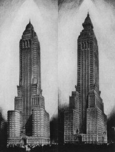 Two proposed renderings of the Chrysler Building lack the ornamentation for which the Chrysler Building is now famous.