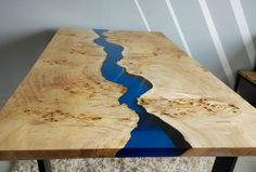 Your daily dose of Inspiration: SOLD Blue river table with epoxy inlay SOLD Resin Furniture, Gothic Furniture, Furniture Projects, Wood Projects, Unique Coffee Table, Walnut Coffee Table, Live Edge Table, Live Edge Wood, Patio Table