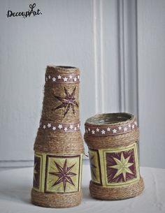 Handmade decorated bottle/vase and lamp #DecoupArt #decoupage #handmade #decoration #decorative #art #bottle #vase #kézműves #kézművesség