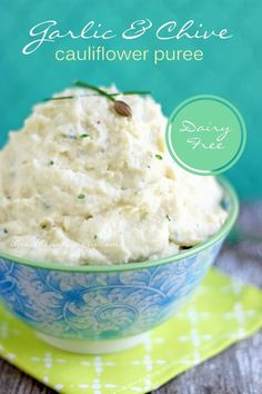 Garlic & Chive Cauliflower Mash – a Low Carb and Dairy Free Side Dish recipe from I Breathe I'm Hungry