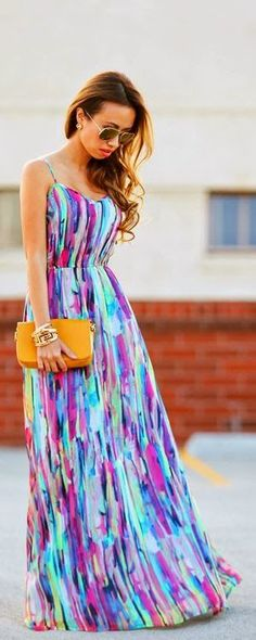 Gorgeous multi colored maxi dress summer style