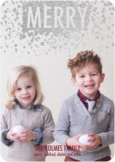 Turn you kids' holiday photo into a dazzling glitter card that your friends and family will love.
