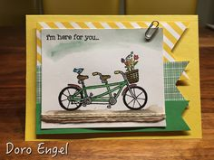 Stampin Up! Masculine Card, Pedal Pusher Stamps on Shimmery White cardstock colored with Aqua Painters, Daffodil Delight and Cucumber Crush