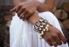 DIY charm bracelet with pearls. Gold, jewelry, costume, statement, fashion.