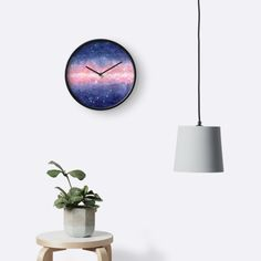 Watercolor Space by Anastasia Shemetova #home #decor #watercolor #space #universe #cosmos #clock #wall #purple #stars #pink #galaxy #faerieshop