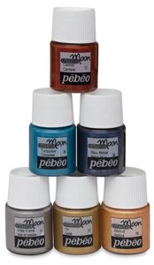 Discovery Set of 6 Blue Pearl, Blue Gold, Pebeo Vitrail, Pebeo Paint, Chocolate Gold, Moon Painting, Arts And Crafts Supplies, Color Swatches, Paint Cans
