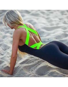 Black Running Yoga Sporty Cross Bandage Back Tight Jumpsuit For Women