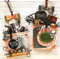 DIY Halloween Treat Boxes by Enza Gudor for We R Memory Keepers treats boxes DIY Halloween Treat Boxes Halloween Treat Holders, Diy Halloween Treats, Halloween Paper Crafts, Halloween Tags, Holidays Halloween, Vintage Halloween, Fall Crafts, Halloween Decorations, Halloween Ideas