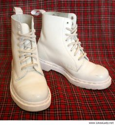 All White Monochromatic Dr. Martens Boots