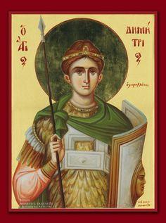 Άγιος Δημήτριος / Saint Demetrios Byzantine Icons, Byzantine Art, Orthodox Icons, Christian Art, Religious Art, Holy Spirit, Christianity, Saints, Art