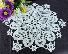 Flowers and Hearts Crochet Doily