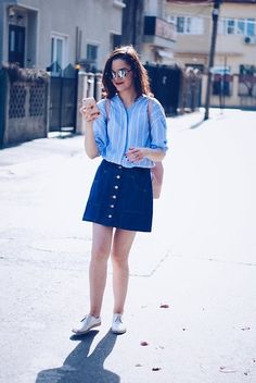 Get this look: http://lb.nu/look/8149299  More looks by Andreea Birsan: http://lb.nu/andreeabirsan  Items in this look:  Christian Dior Sunglasses, New Yorker  Striped Shirt, Stradivarius Denim Button Front Skirt, Zara Pink Backpack, Silver Shoes   #casual #chic #street #andreeabirsan #couturezilla #spring #springlook #springoutfit #style