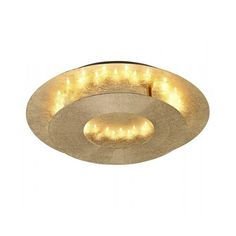 Nevis LED ceiling light available in a gold colour or silver crackled finish. The fitting has a circular bottom disc that is attached to a larger circular.