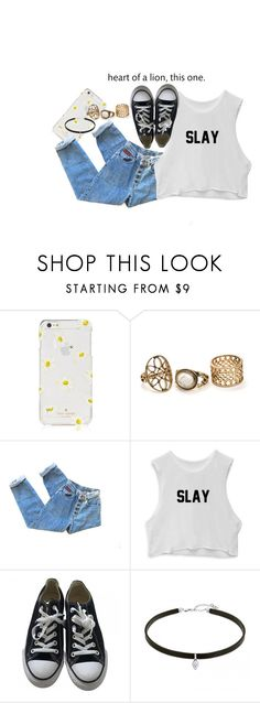 """""""Heart of a lion, this one."""" by rusher-decorazon on Polyvore featuring moda, Kate Spade y Converse"""