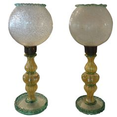 Pair of Murano Glass Lamps | 1stdibs.com