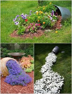 front yard CREATIVE IDEAS DRY CREEK BED FROM DOWN SPOUT THROUGH FRONT YARD GRASS - Google Search