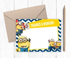 The Minions Despicable Me inspired birthday party 6x4 printable thank you card. Supplied as a high resolution instant download digital file – take to your local print shop (Kinkos/Snap/Staples/Officeworks) for low cost good quality printing or print at home – print as many as you like!