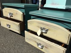 Loving these super cute, painted and distressed 2-drawer chests for sale by Shabby Restore (www.shabbyrestore.com) seen today at the Treasure Island Flea in San Francisco. #shabby #restore