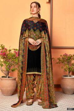 Patiyala Dress, Daily Wear, Ethnic, Swarovski, Sari, Buttons, Suits, How To Wear, Black