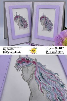 Leave a Little Sparkle for our new InColors - Old Stables Crafts Card Crafts, Paper Crafts, Horse Cards, Fantasy Mermaids, Wink Of Stella, Kids Birthday Cards, Stampin Up Catalog, Craft Room Storage, 11th Birthday