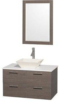 "Amare 36"" Wall-Mounted Bathroom Vanity Set with Vessel Sink by Wyndham Collectio - modern - bathroom sinks - Modern Bathroom"