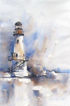 lighthouse in blueandbrown by margo Edo Hannema watercolor - lighthouse in blue and brown Watercolor Ideas - Watercolors are reportedly the art medium. Sure, painting with watercolors is demanding and takes a great deal of practice, but is not that with a Easy Watercolor, Watercolor Sketch, Watercolor Water, Watercolor Artwork, Watercolor Techniques, Painting Techniques, Watercolor Painting Tutorials, Watercolor Tutorial Beginner, Watercolor Paintings For Beginners