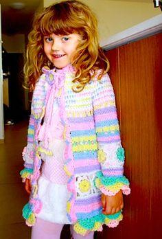 Crochet Patterns Girl Ravelry: Little girl& colorful summer coat pattern by Svetlana M. Jumper Knitting Pattern, Baby Hats Knitting, Summer Knitting, Crochet Girls, Crochet For Kids, Crochet Baby, Crochet Children, Crochet Coat, Knitted Coat