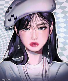 Kpop Drawings, Cool Art Drawings, Blackpink Poster, Lisa Blackpink Wallpaper, Black Pink Kpop, Digital Art Girl, Pink Art, Kpop Fanart, Jennie Blackpink