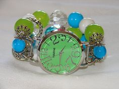 Green Turquoise and White Chunky Beaded Watch Band by BeadsnTime, $30.00