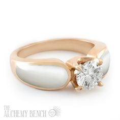 Beautiful white mother of pearl and diamond inlay engagement ring set into rose gold. | The Alchemy Bench #BridalTransformed