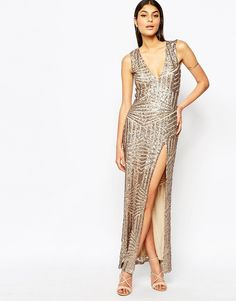 Image 2 of Club L Plunge Open Back Sequin Maxi Dress With Thigh Split