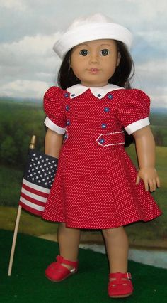 Red Travel Dress Made by KMKdollshop fits Popular 18 Inch Dolls American Girl Molly, American Girl Clothes, Sewing Doll Clothes, Girl Doll Clothes, Sailor Fashion, Girl Fashion, Club Fashion, 1950s Fashion, Ag Dolls