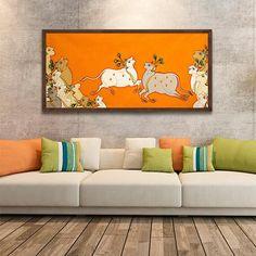Artist Yugdeepak Soni - Exclusive, Limited edition prints on Canvas Phad Painting, Mural Painting, Acrylic Painting Canvas, Canvas Art, Garden Painting, Pichwai Paintings, Indian Art Paintings, Indian Artwork, Indian Folk Art